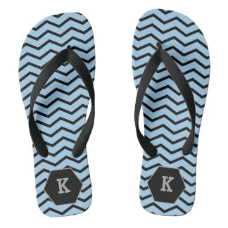 Black Zigzags on Blue Background Monogram Flip Flops