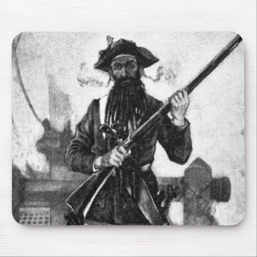 Blackbeard at attention with rifle mousepad