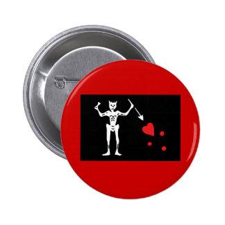 Blackbeard Pirate FLag 6 Cm Round Badge