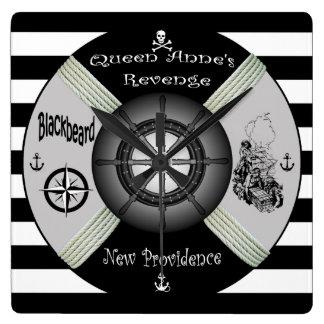 Blackbeard ~Queen Anne's Revenge ~Pirate~Life-ring Square Wall Clock