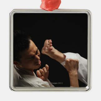 Blackbelt Being Kicked in the Head Silver-Colored Square Decoration