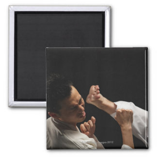 Blackbelt Being Kicked in the Head Square Magnet