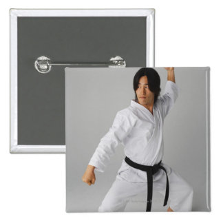 Blackbelt In An At Ready Stance 15 Cm Square Badge