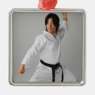 Blackbelt In An At Ready Stance Silver-Colored Square Decoration