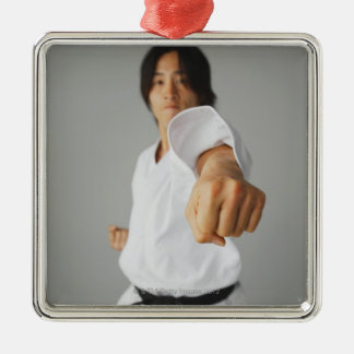 Blackbelt Punching Silver-Colored Square Decoration