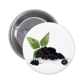 Blackberries fruits watercolour painting 6 cm round badge