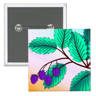 Blackberries on a branch 15 cm square badge