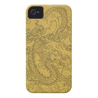 BlackBerry Bold Dragon on mustard leather texture iPhone 4 Cases