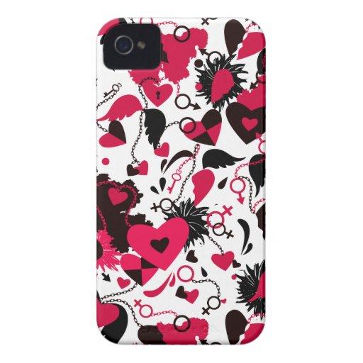 Blackberry case with broken hearts design