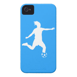 BlackBerry Curve Soccer Silhouette White on Blue iPhone 4 Covers