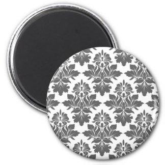 Blackberry damask light gray Preppy Chic 6 Cm Round Magnet