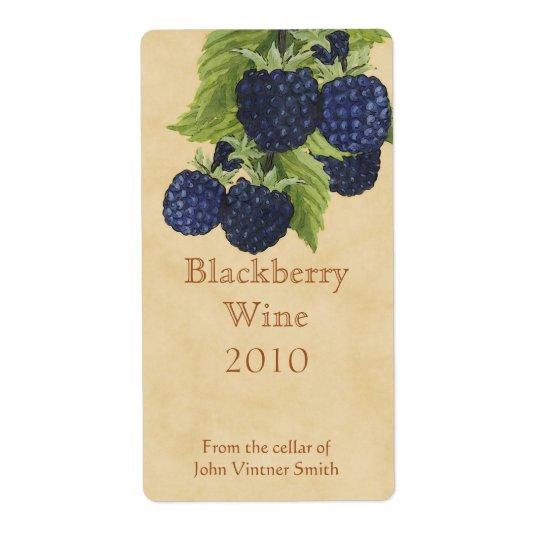 Blackberry wine bottle label shipping label