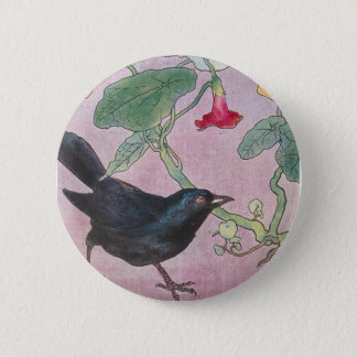 Blackbird and Nasturtiums 6 Cm Round Badge
