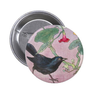 Blackbird and Nasturtiums 6 Cm Round Badge
