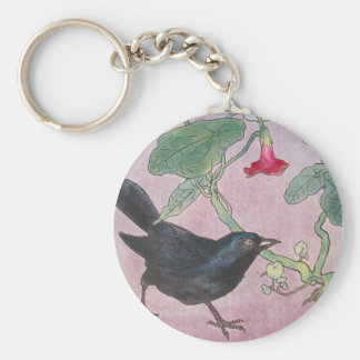 Blackbird and Nasturtiums Basic Round Button Key Ring
