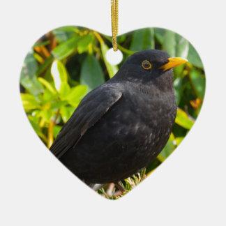 Blackbird Ceramic Heart Decoration