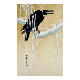 Blackbird in Snow Ikeda Koson Posters