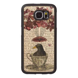 Blackbird In Teacup Wood Phone Case
