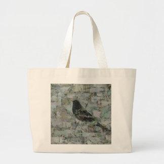 Blackbird in Tree Large Tote Bag