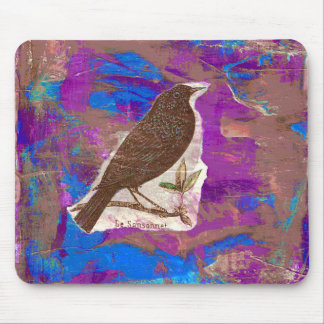 Blackbird Mixed Media Collage Mouse Pad
