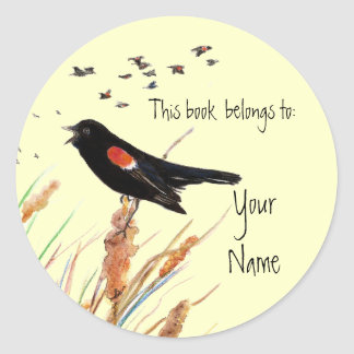 Blackbird, This book  belongs to Bookplate Round Stickers