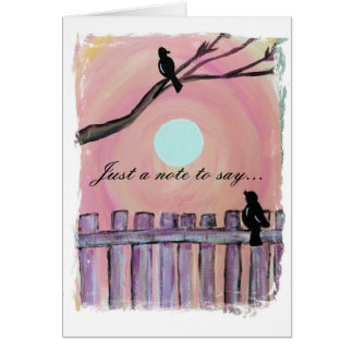 Blackbirds on Fence Sunset Moon Missing You Card
