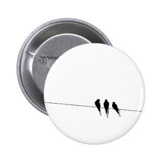 Blackbirds Silhouette on Wire 6 Cm Round Badge