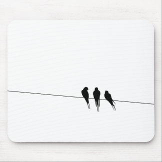 Blackbirds Silhouette on Wire Mouse Pad