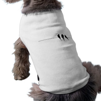 Blackbirds Silhouette on Wire Sleeveless Dog Shirt