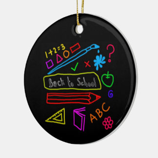 Blackboard Back To School Round Ceramic Decoration