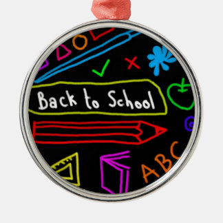 Blackboard Back To School Silver-Colored Round Decoration