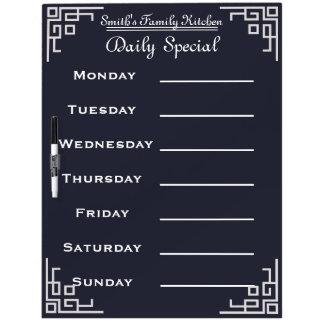 Blackboard Chalkboard Weekly Family Dinner Menu