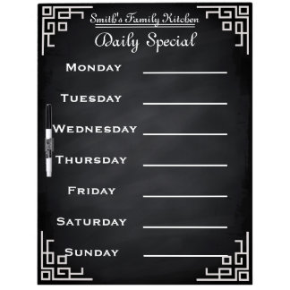 Blackboard Chalkboard Weekly Family Dinner Menu