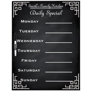 Blackboard Chalkboard Weekly Family Dinner Menu Dry Erase Board