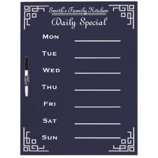 Blackboard Chalkboard Weekly Family Dinner Menu Dry Erase Boards