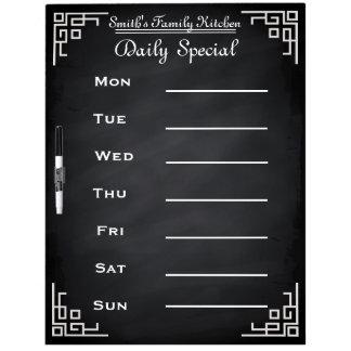 Blackboard Chalkboard Weekly Family Dinner Menu Dry-Erase Whiteboard