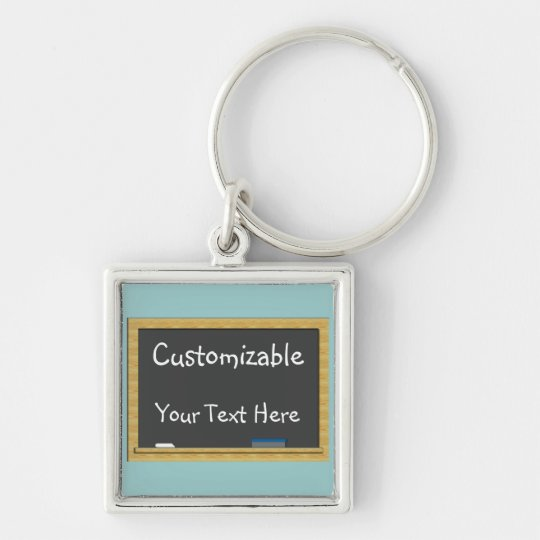 Blackboard Greeting - Customisable Silver-Colored Square Key Ring