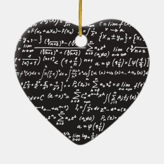 Blackboard Math Equations Ceramic Heart Decoration