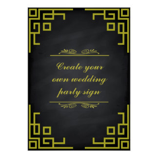 Blackboard Swirl Green Border Wedding Party Sign Poster