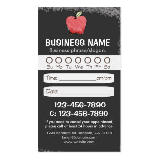 Blackboard teacher apple appointment cards business card template