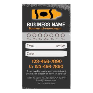 Blackboard teacher crayon appointment cards business card template