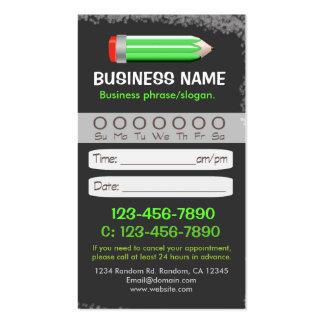 Blackboard teacher pencil appointment cards business card templates
