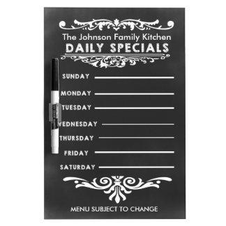 Blackboard Weekly Dinner Menu Dry-Erase Whiteboard