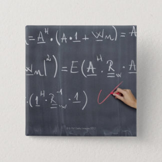 Blackboard with arithmetic's on it, close-up 15 cm square badge