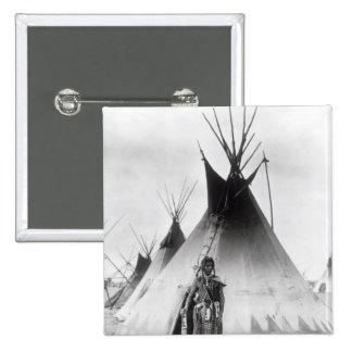 Blackfoot Brave, near Calgary, Alberta, 1889 15 Cm Square Badge