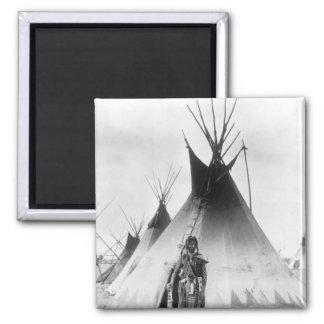 Blackfoot Brave, near Calgary, Alberta, 1889 Square Magnet