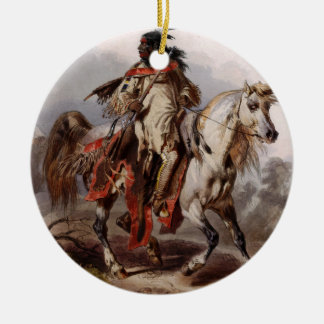 Blackfoot Indian On Arabian Horse being chased Christmas Ornament