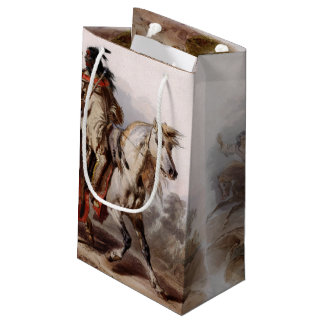 Blackfoot Indian On Arabian Horse being chased Small Gift Bag