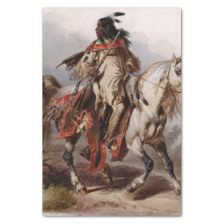 Blackfoot Indian On Arabian Horse being chased Tissue Paper