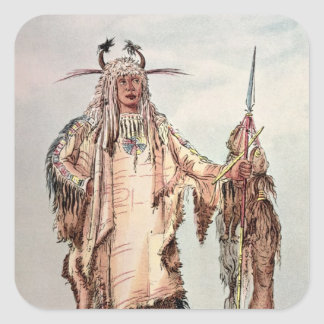 Blackfoot Indian Pe-Toh-Pee-Kiss, The Eagle Ribs Square Stickers